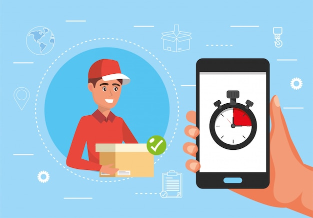 Man delivery with package and hand with smartphone and chronometer Premium Vector