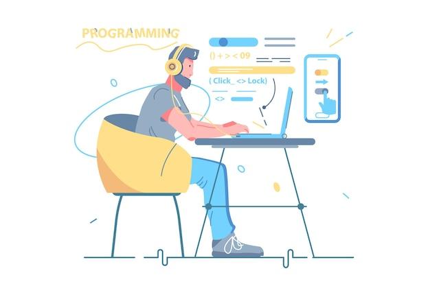 Man developer coding and chatting by laptop vector illustration. guy freelancer and program code fl