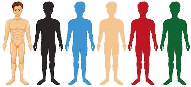 Man and different silhouette color bodies Free Vector