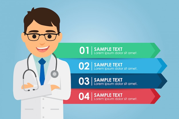 Man doctor standing with a infographic Premium Vector