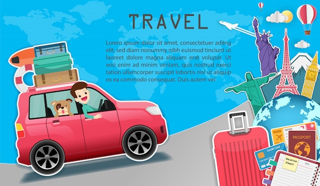 Man and dog in car travel around the world concept. Premium Vector