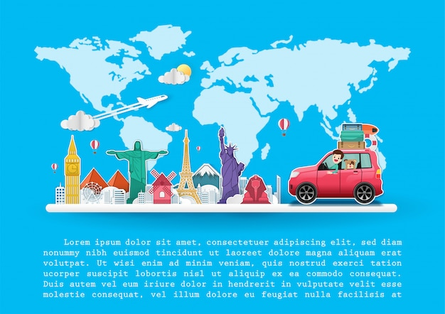 Man and dog in car travel top world famous landmark Premium Vector