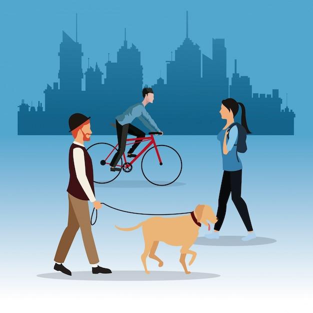 歩く男の犬の女の子と男の乗り物のバイクの街の背景 Premiumベクター