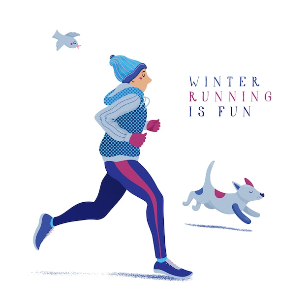 Man and dog running, jogging in winter Premium Vector
