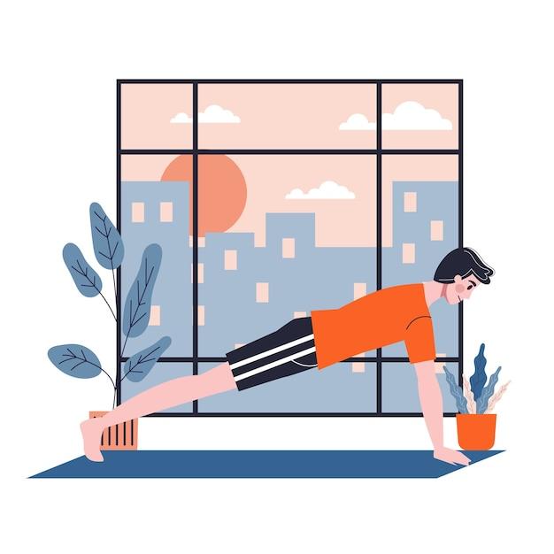 Человек делает упражнения для наращивания мышц рук и груди. спортивная подготовка. иллюстрация в мультяшном стиле Premium векторы