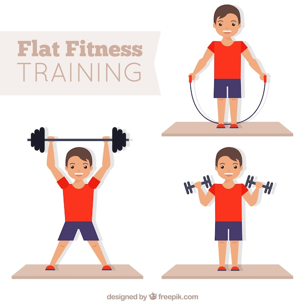 Man doing fitness in flat design Free Vector