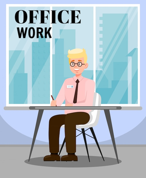 Man doing office work flat vector illustration Premium Vector
