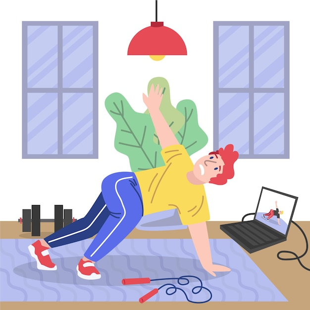 Man doing online sport classes Free Vector