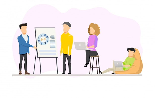 Man doing presentation for group on coworking Premium Vector