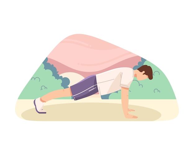 Man doing push ups vector flat illustration Premium Vector