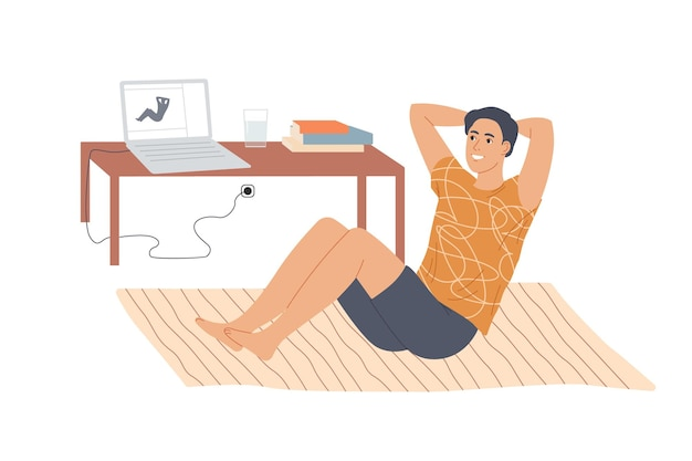 Man doing situps abs crunches at home. Premium Vector