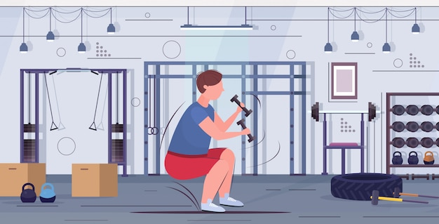 Man doing squats exercises with dumbbells overweight guy training workout weight loss concept modern gym interior flat full length horizontal  illustration Premium Vector