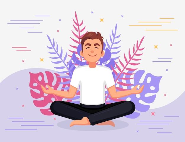 Человек занимается йогой. йог сидит в позе лотоса падмасана, медитирует, расслабляется, успокаивается, справляется со стрессом Premium векторы