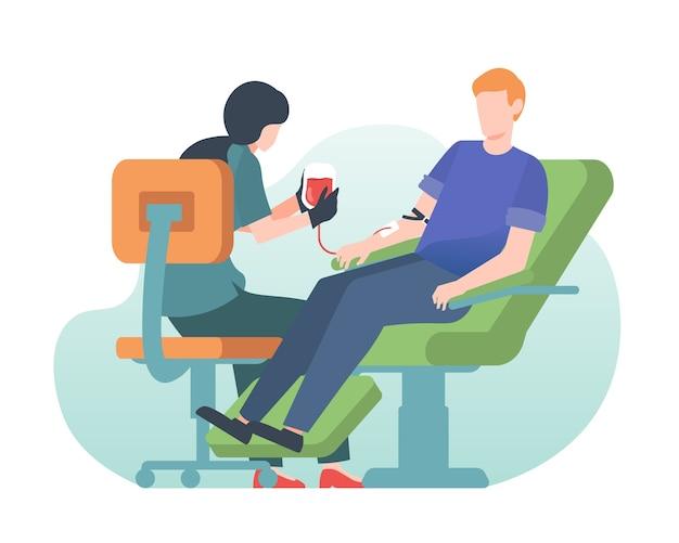 病院で彼の血を寄付する男 Premiumベクター