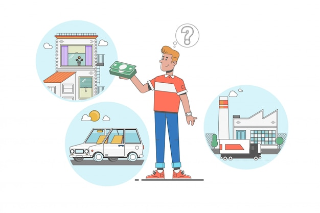 Man dreaming about home, investment, factory and car after earning dollars Premium Vector