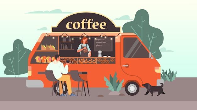 Мужчина пьет кофе в мобильной кофейне. современный фургон с уличной едой, бариста подает капучино. иллюстрация Premium векторы