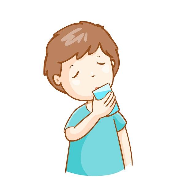 man drinking fresh water illustration vector | premium download