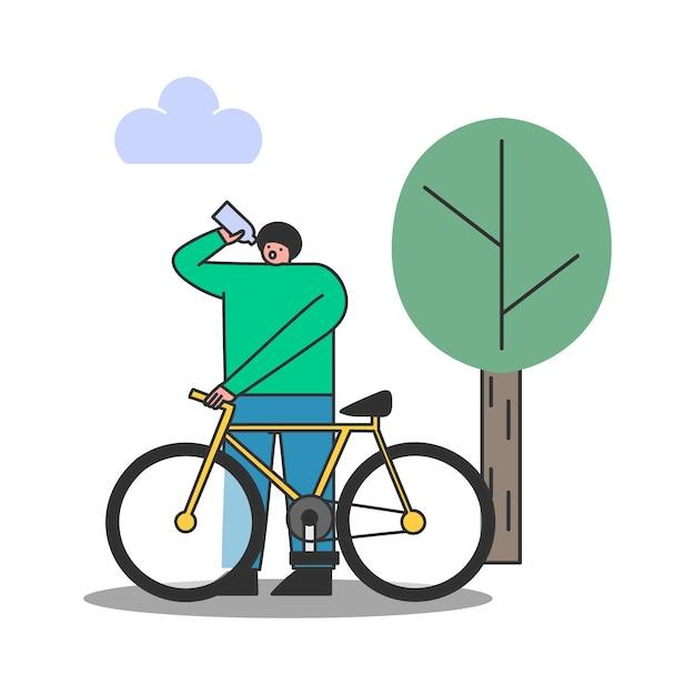 공원에서 자전거를 타는 동안 스포츠 병에서 물을 마시는 사람. 남성 운동 자전거 프리미엄 벡터
