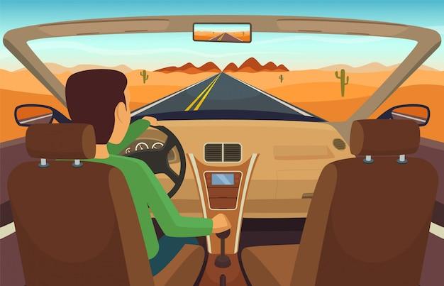 Man driving car. cabriolet inside transportation, man in vehicle Premium Vector