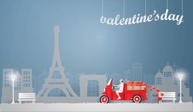 Man driving red mini truck Premium Vector