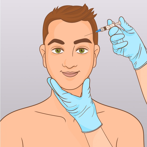 Man during surgery filling facial wrinkles Premium Vector