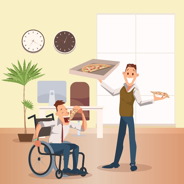 Man eat pizza at office. happy disabled coworker Premium Vector