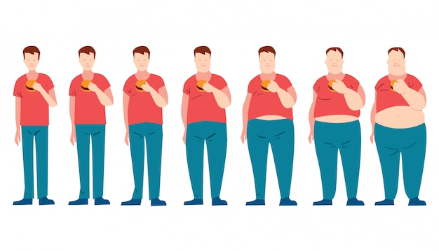Man eating fast food and getting fatter. Premium Vector