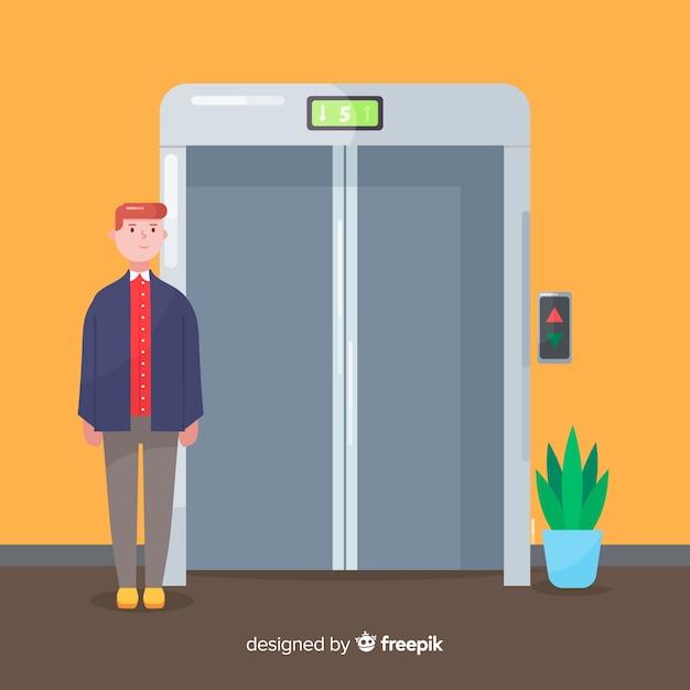 Man in elevator Free Vector