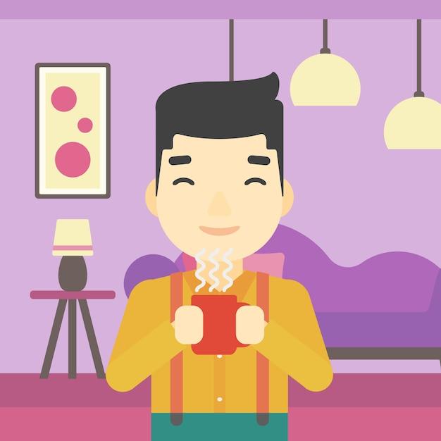 Man enjoying cup of hot coffee. Premium Vector