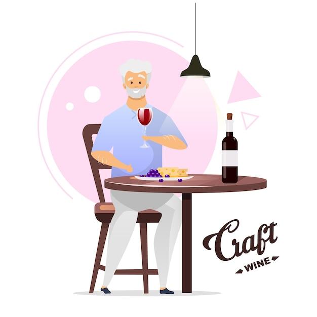 Человек, наслаждаясь бокалом вина плоской цветной иллюстрации. виноделие, винификация. винодел с полным стаканом. мужской персонаж пьет алкогольный напиток. изолированные мультипликационный персонаж на белом Premium векторы