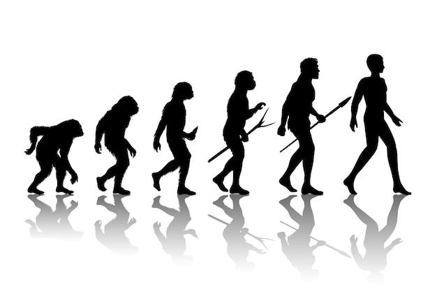Эволюция человека. развитие роста прогресса силуэта. Бесплатные векторы