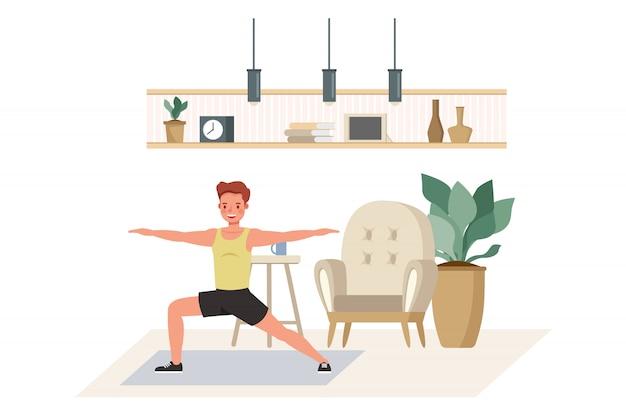 캐릭터 집에서 운동하는 남자. 건강한 라이프 스타일과 건강 개념. 프리미엄 벡터