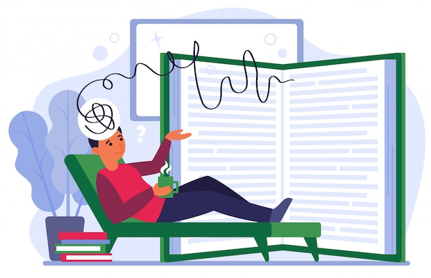Man expressing his ideas for diary Free Vector
