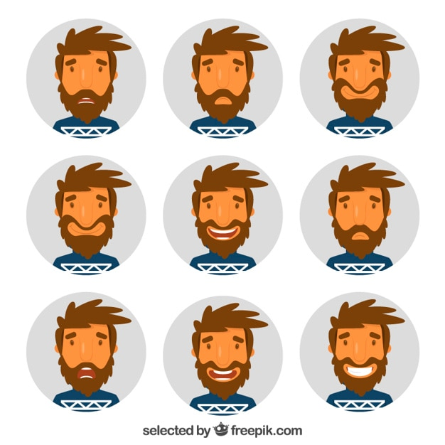 Man expressions Free Vector