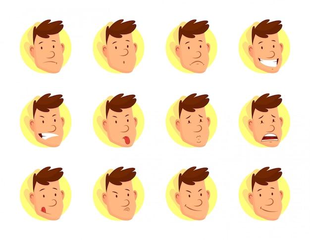 男の顔の表情。さまざまな男性の顔の感情のセット。魅力的な漫画のキャラクター。幸せ、悲しい、驚いた、疲れた、恋愛、笑い、怒り、その他の感情 Premiumベクター
