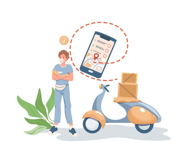 Man in face mask standing near motorbike or scooter with boxes and parcels on it flat cartoon illustration. Premium Vector