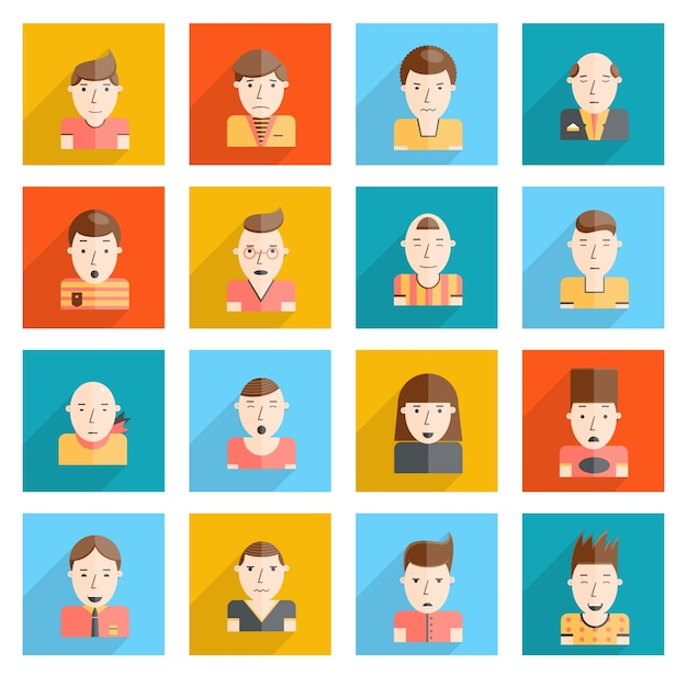 Man faces icons flat Free Vector