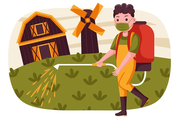 Фермер человек распыляет пестициды на ферме с маской носки. Premium векторы