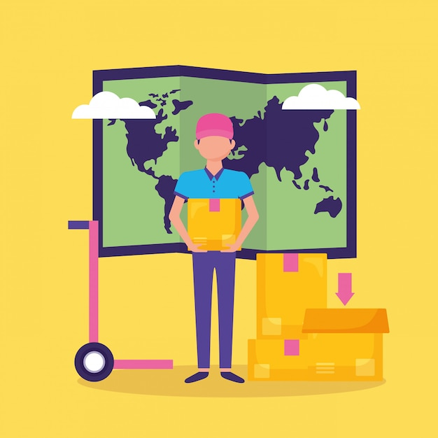 Man fast delivery Free Vector
