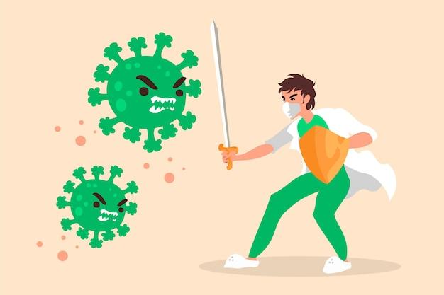 ウイルスの概念と戦う男 無料ベクター