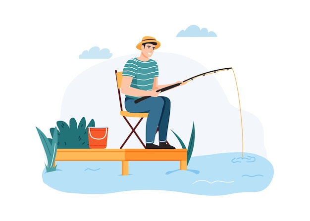 Man fishing. guy sitting on chair with fishing rod waiting for fish, outdoor summer hobby. Premium Vector