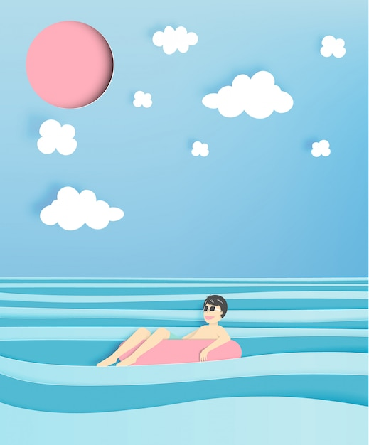 Man floating on the beach with beautiful sea background Premium Vector