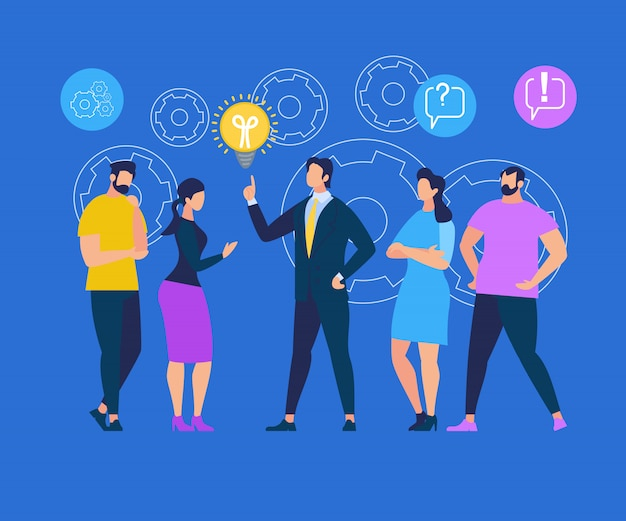 Man in formal suit point on light bulb, share idea Premium Vector