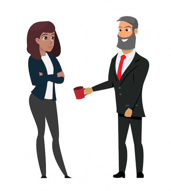 Man in formal wear offering coffee businesswoman Premium Vector