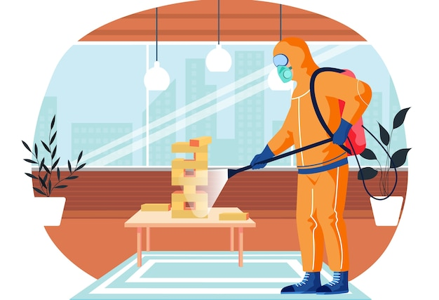 A man from epidemiological service doing disinfection in office or livingroom with board game to kill viruses and bacteria. male character in a protective suit sprays a room with disinfectant solute Premium Vector