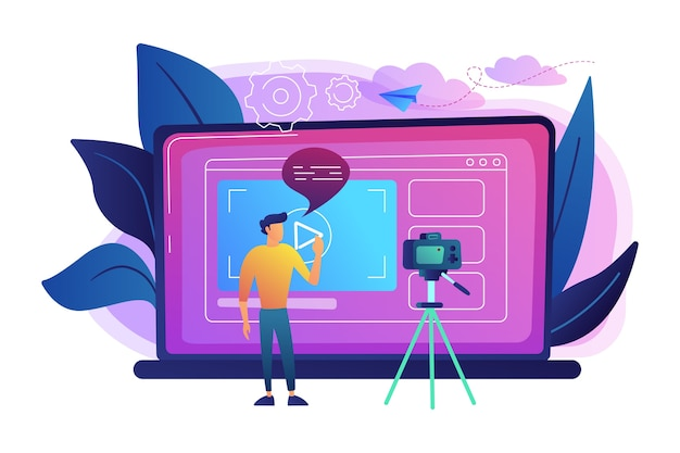A man in front of camera recording a video to share it in internet illustration Free Vector