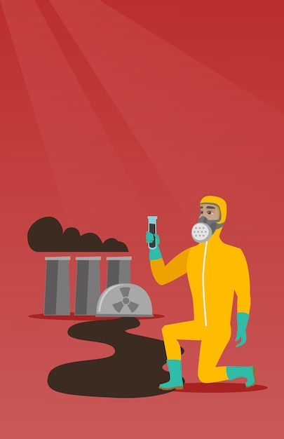 Man in gas mask and radiation protective suit. Premium Vector