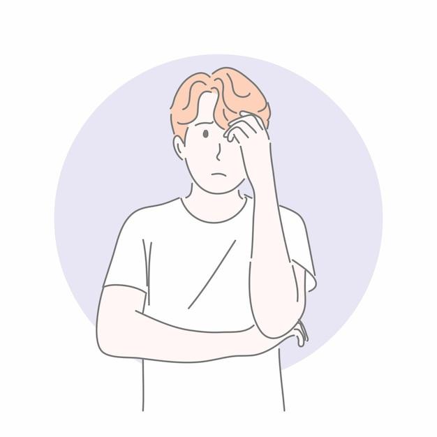 Человек, жестикулирующий рукой в концепции не уверен, вопрос, поиск ответа, мышление. Premium векторы