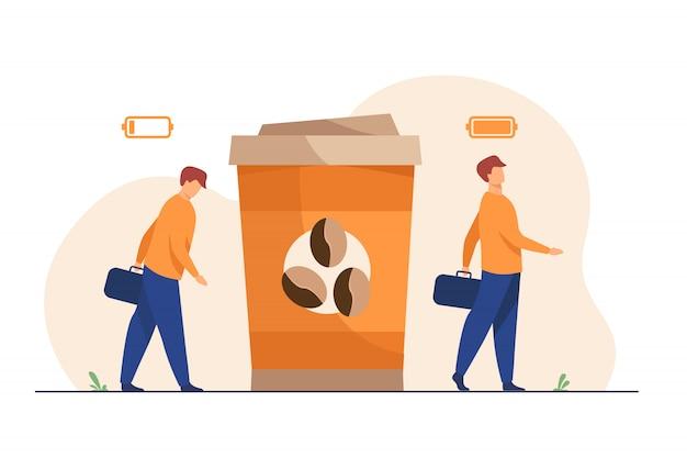 Человек получает энергию из чашки кофе Бесплатные векторы