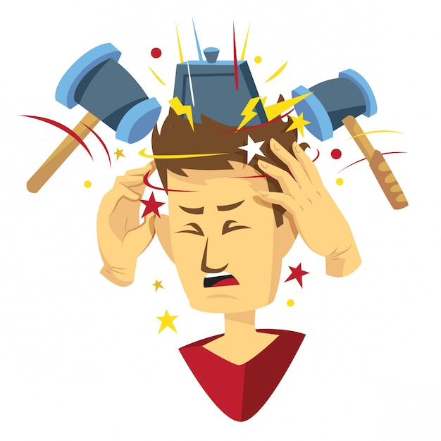 Man getting headache illustration Premium Vector
